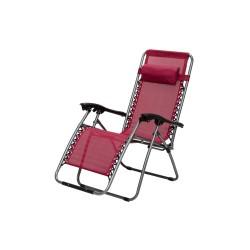 Baštenska stolica podesiva sa jastukom metalna – crvena Messina